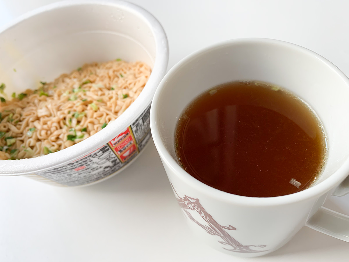 『チキンラーメンの油そば』スープ
